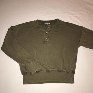 AEO Green Boyfriend Fit Cropped Sweater